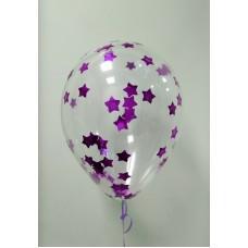 """Воздушные шары """"Конфетти"""" лиловые звезды"""