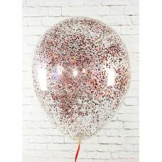 "Воздушные шары ""Конфетти"" красный глиттер"