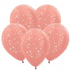 """Воздушные шары  """"Звездочки"""" розовое золото"""