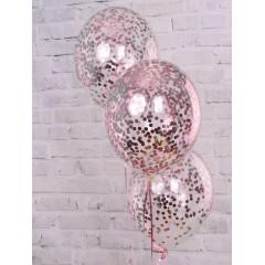 """Воздушные шары """"Конфетти"""" розовое золото"""