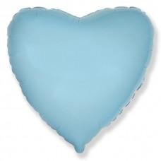 Сердце фольгированное голубое 75 см.