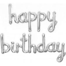 """Надпись """"Happy Birthday"""" серебро"""